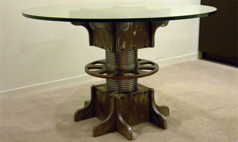 TURNBUCKLE PEDESTAL DINING TABLE