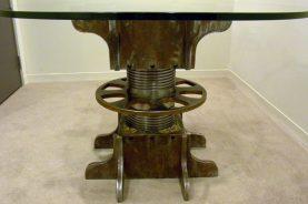 TURNBUCKLE PEDESTAL DINING TABLE