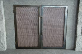 copper mesh fireplace doors