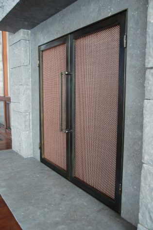 copper mesh fireplace doors