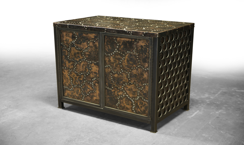 Brandner Design Hammered and Stitched Cabinet