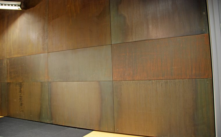 Metallic Wall Paneling : Brandner design interior steel wall panels