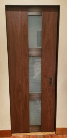 Walnut Glass Pocket Door
