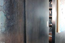 Blackened hot rolled Steel Sliding Door.