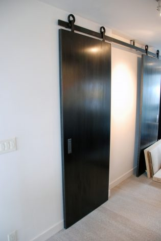Blackened hot rolled Steel Sliding Door.