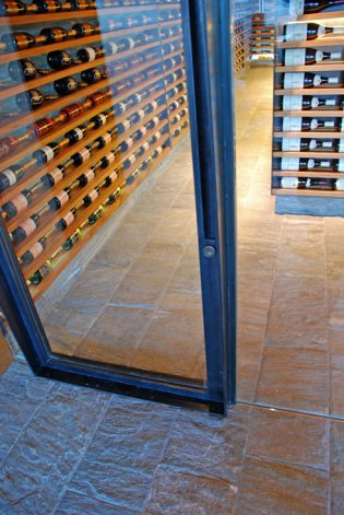 Brandner Design Machined Glass Pivot Wine Cellar Door.