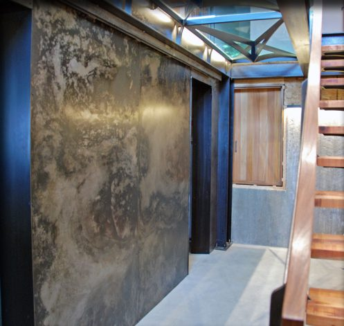 Brandner Design Marbleized Hot Rolled Panel Wall