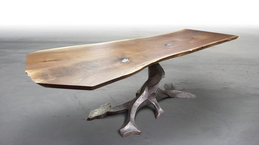 Brandner Design Walnut Slab Twisted Tree Table