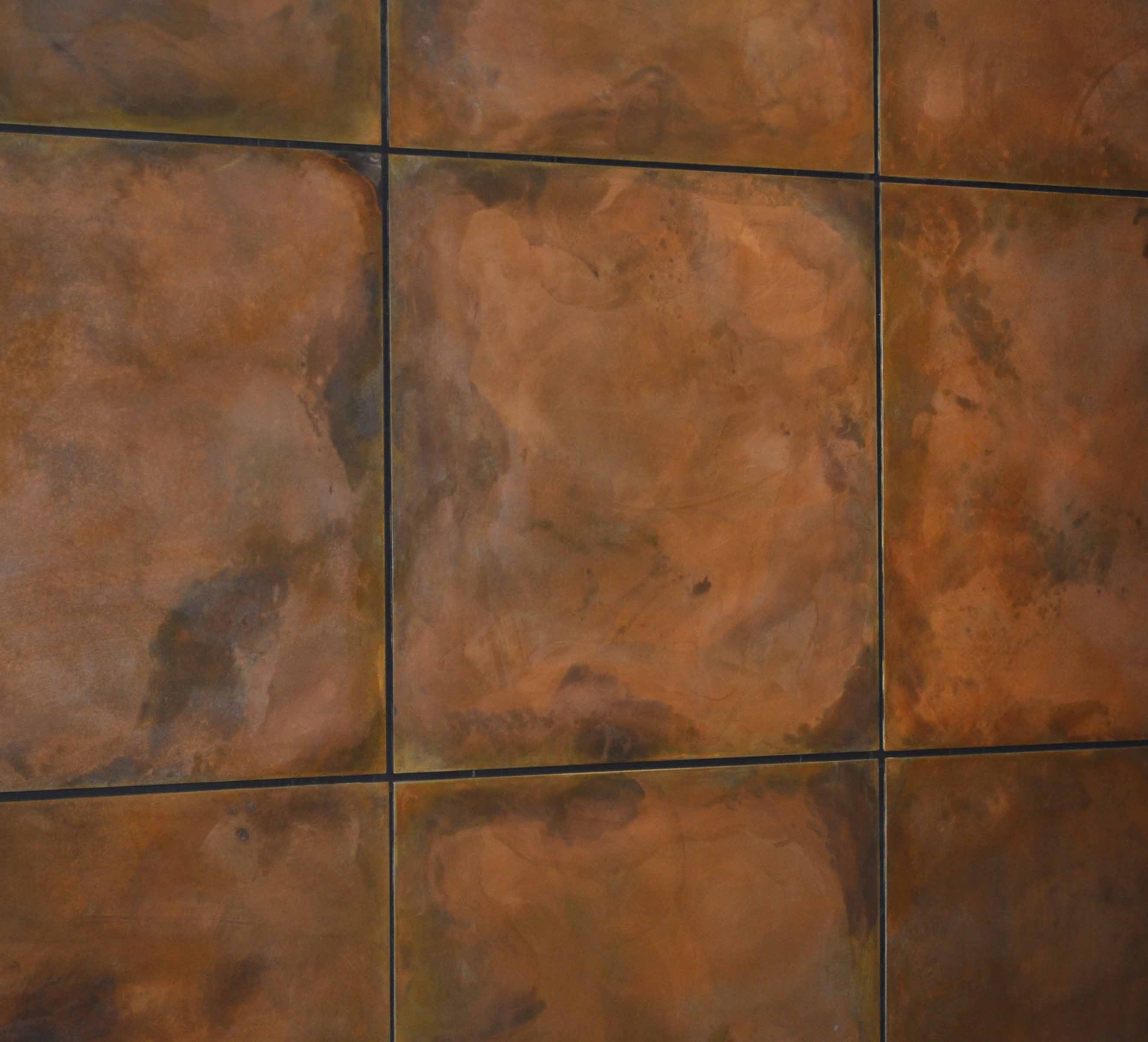 Copper Wall Paneling : Burnt copper z clipped floating steel wall panels