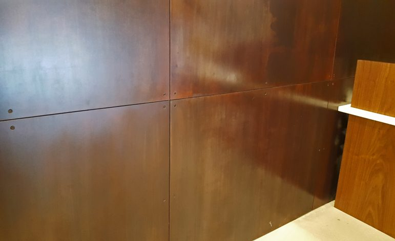 Brandner Design Bronze Veil Countersunk Floating Steel Wall Panels