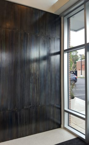 Brandner Design Blue Heat Countersunk and Floating teel Wall Panels