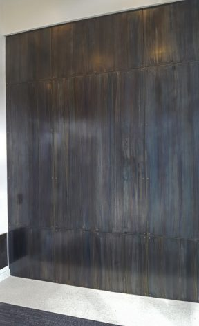 Blue Heat Countersunk Floating Steel Wall Panels