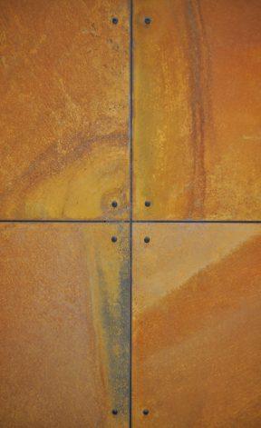 Brandner Design Blackened Pan Head Screwed Rust Veil Steel Wall Panels