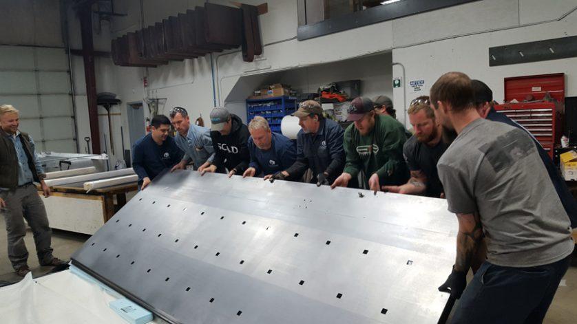mountain modern industrial Stainless Steel Pivot Door