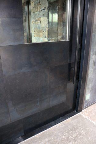 Lone Peak blackened steel mondrian modern entry door