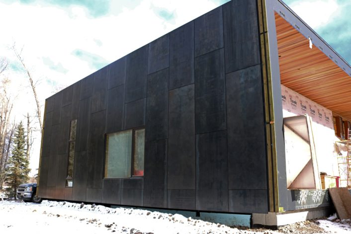 Brandner Design Floating Face Screwed Blackened Hot Rolled Siding