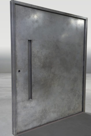 Modern Pivot Door - weathered black stainless steel pivot door