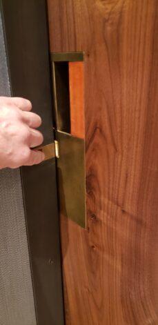 Brass Pocket Door Pull lock mechanism