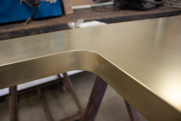 brass countertop with undermount sink